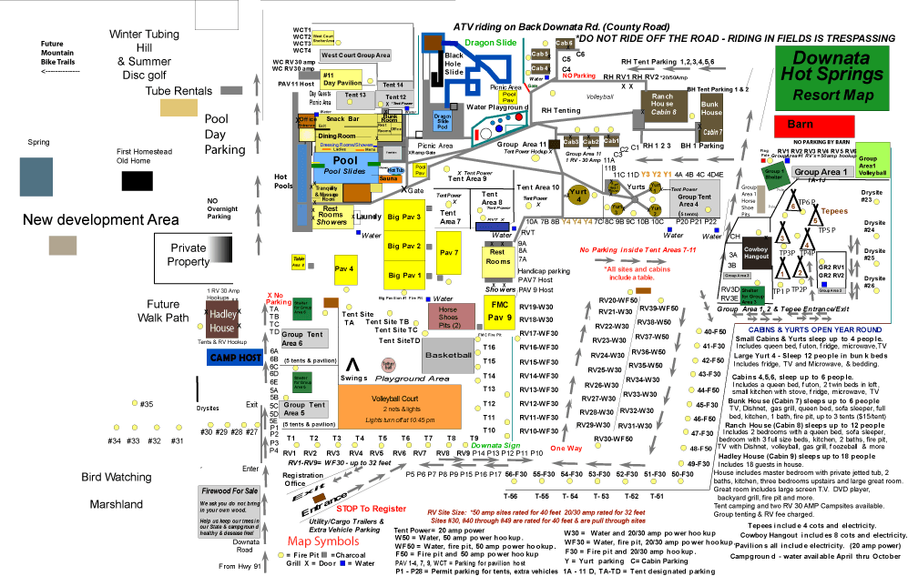 Downata Hot Springs Campground Map