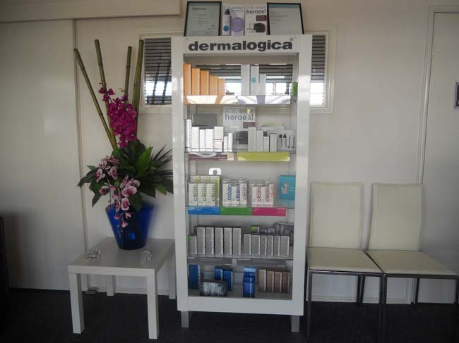 View of the products used in the salon