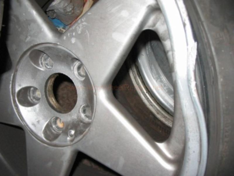 close up of damaged wheel