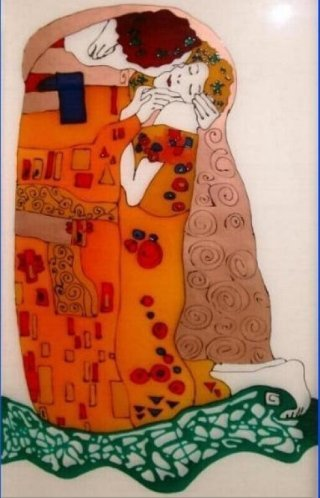 decorazione in vetro resina raffigurante il bacio di Klimt