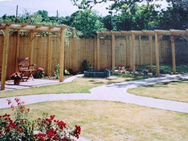 Garden with wooden fencing