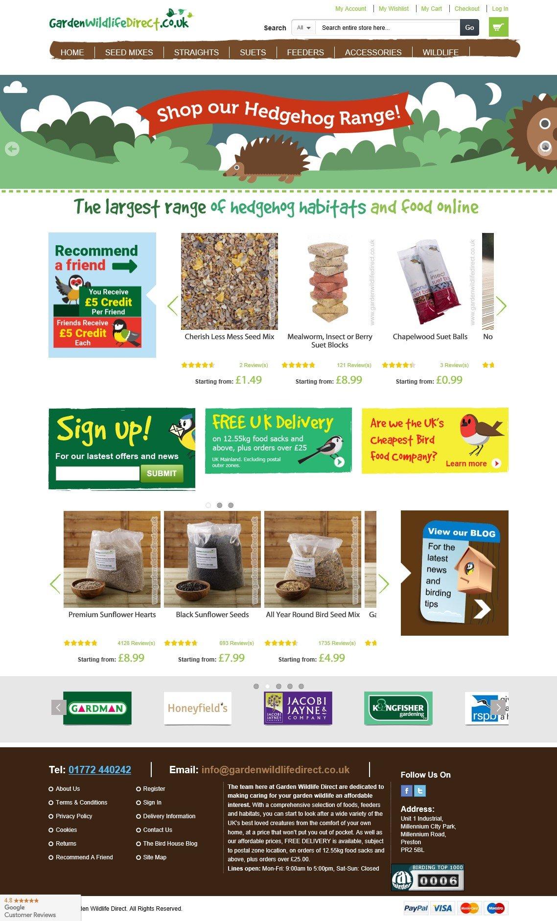 Garden Wildlife Direct - The UK's cheapest wild bird food delivered direct to your door