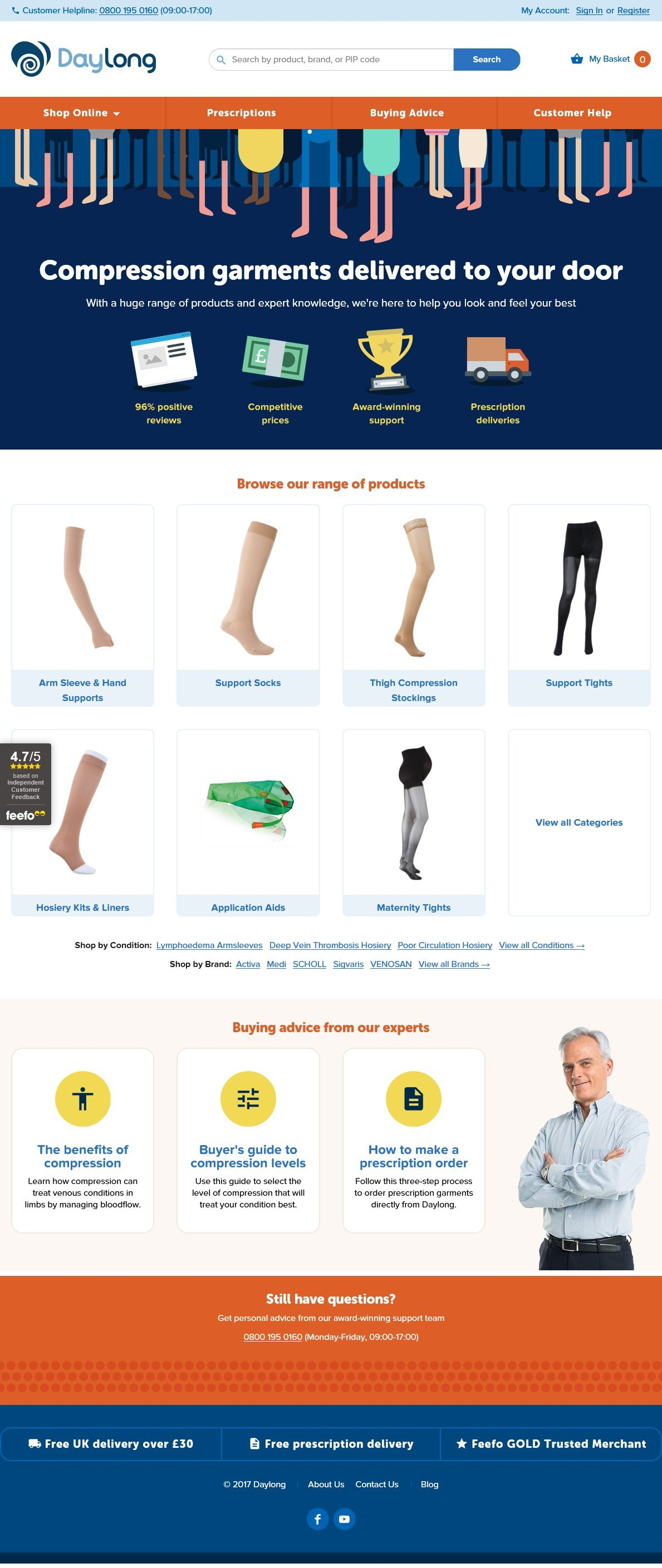 Daylong specialize in Compression Support Stockings, Tights, Socks, Maternity Tights, Accessories and some Anti Cellulite Hosiery