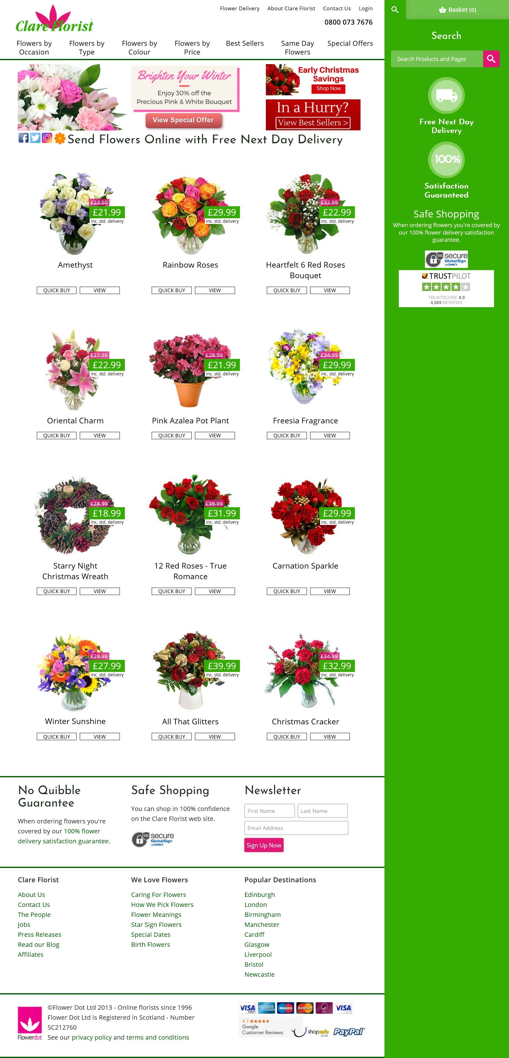 Clare Florist are the No.1 online florist for flower delivery throughout the UK with the perfect flowers to send - whatever the occasion