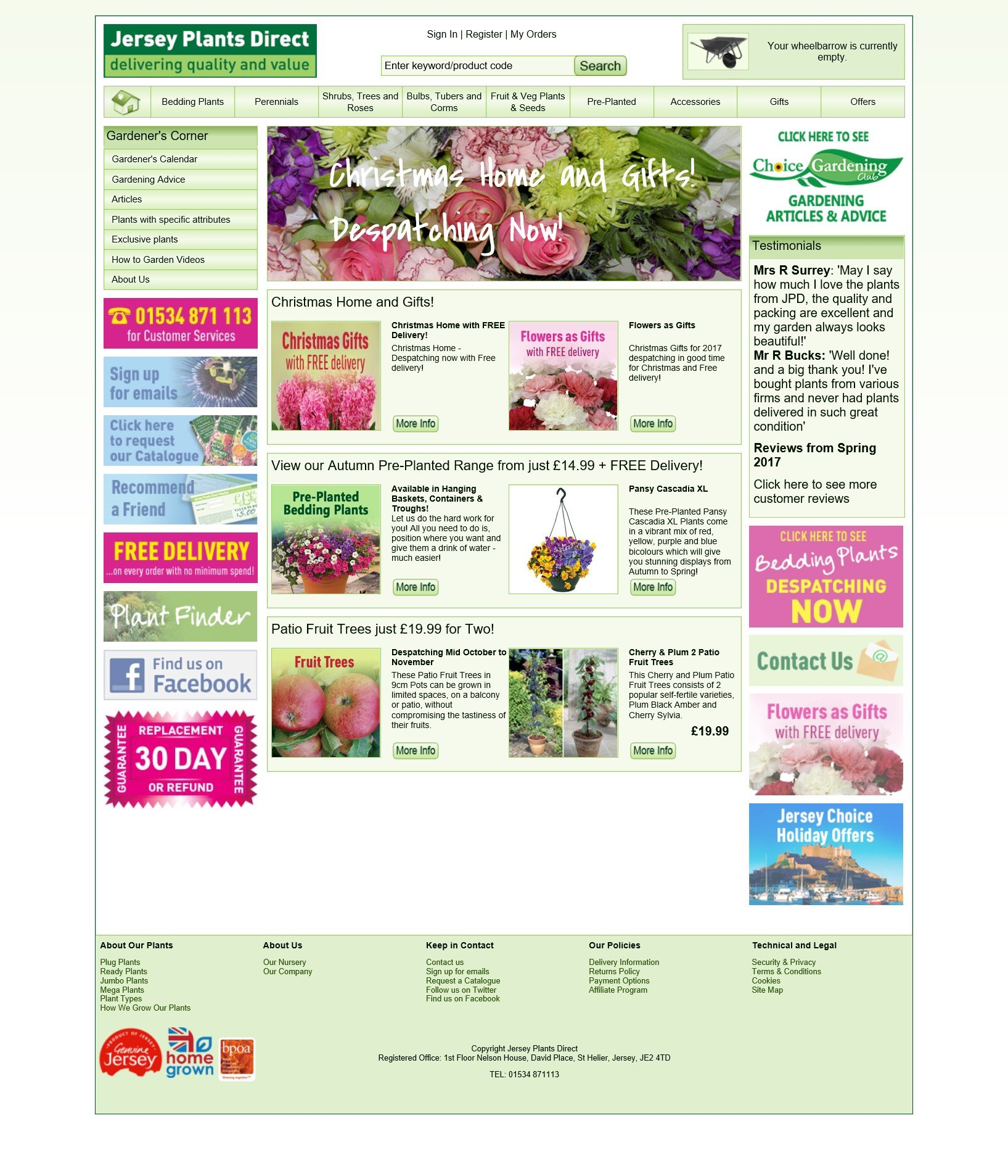 Jersey Plants Direct re a Mail Order Bedding Plant Nursery based in Jersey selling a full year round range of Jersey grown bedding plants, shrubs and bulbs with FREE DELIVERY across the UK
