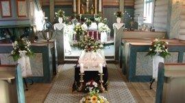 paramenti a lutto, addobbi floreali, ghirlande