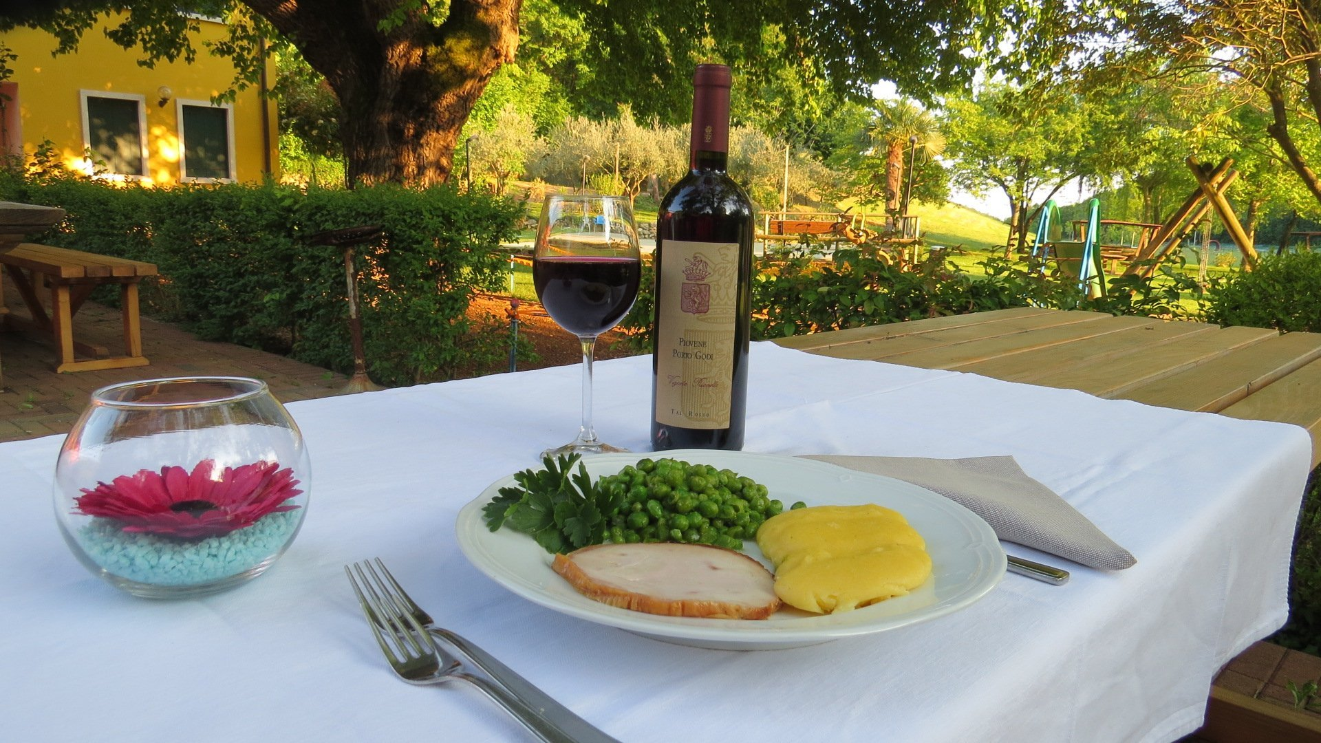 tavolo in giardino con piatto e bottiglia di vino