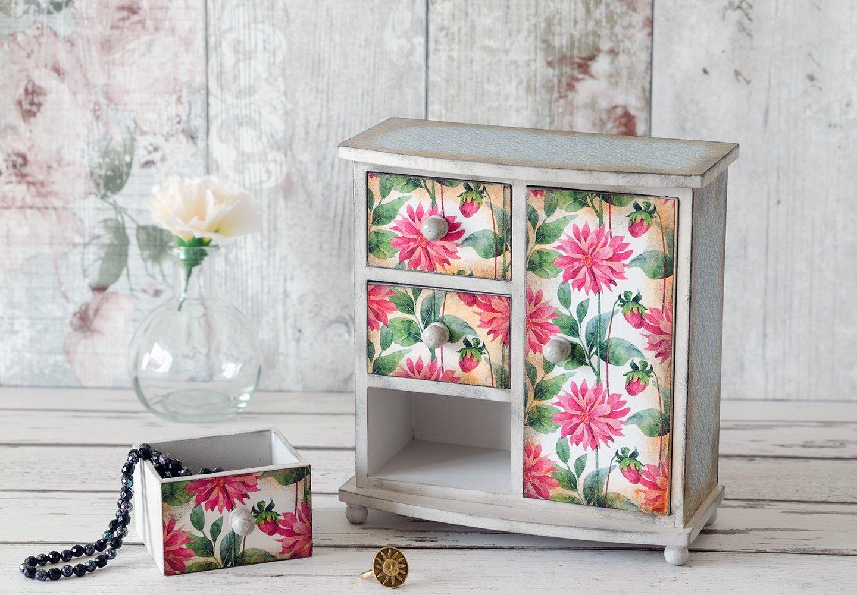mensola in legno con cassetti