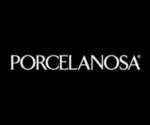 logo Porcelanosa scritto in bianco su sfondo nero