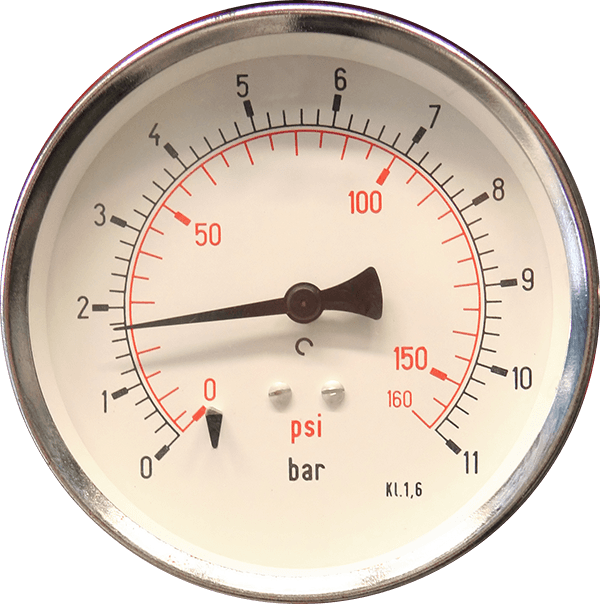 A close-up of a pressure gauge