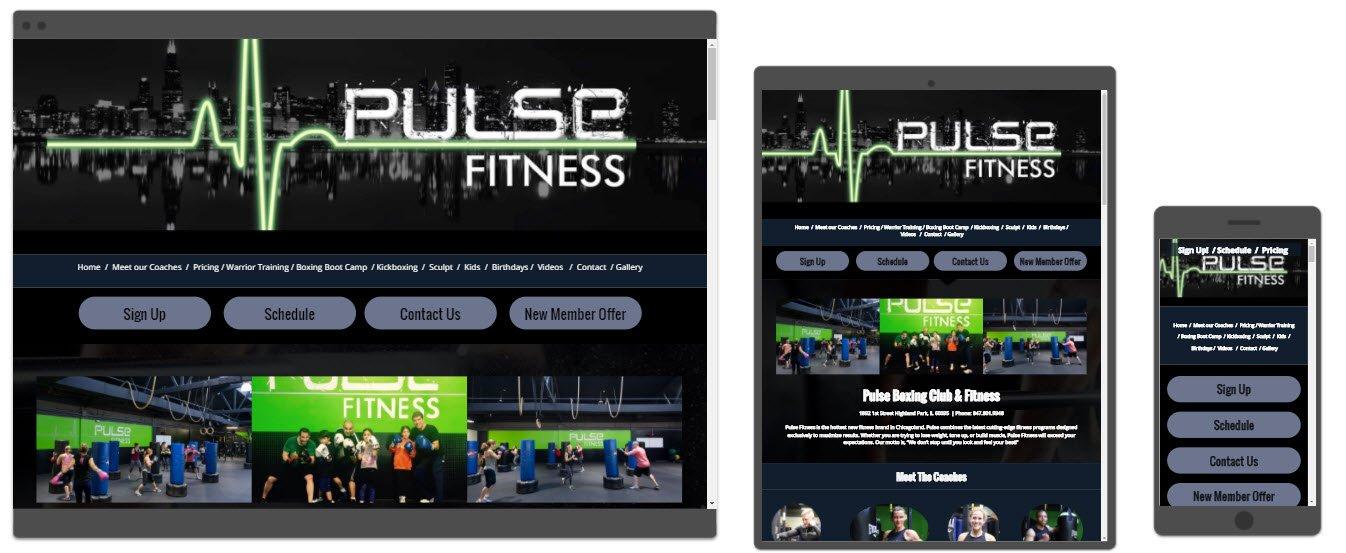 Pulse Fitness website