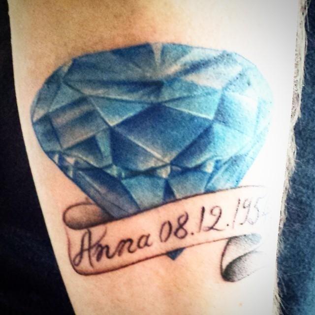 Tatuaggio azzurro scritto ANNA