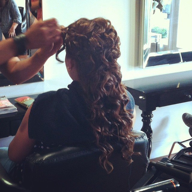 curled and braided hair