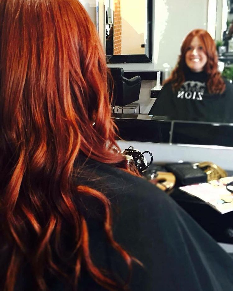 curled red hair