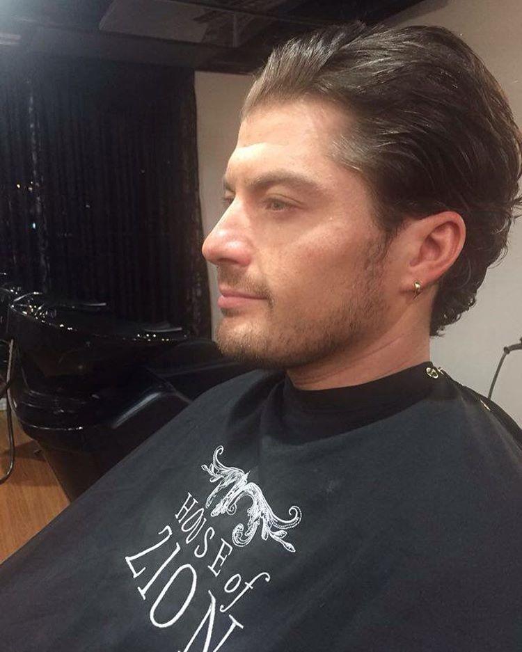man hair slicked back