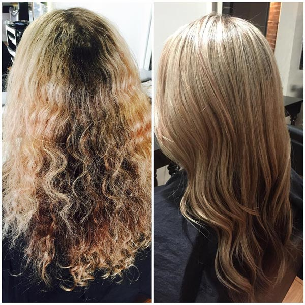 before and after curled blonde hair