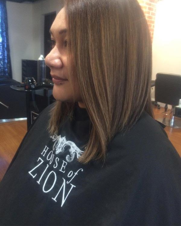brown straightened hair