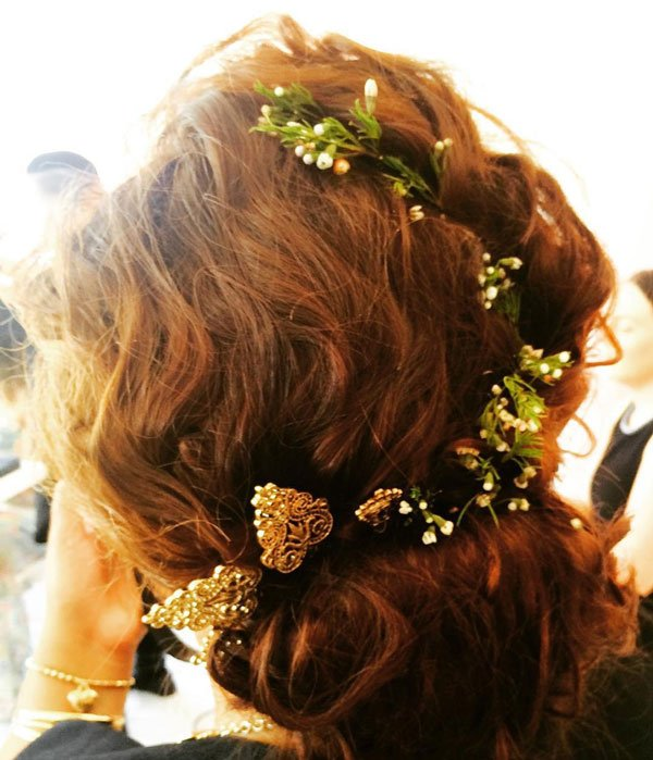 brown hair with flowers