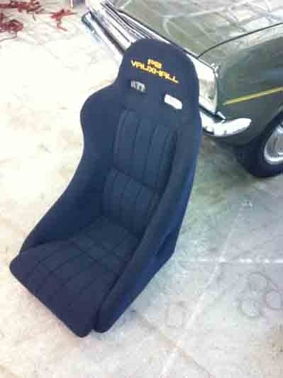 New upholstery on car seat