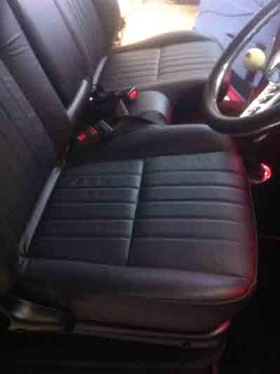 Interior view of the automobile upholstery
