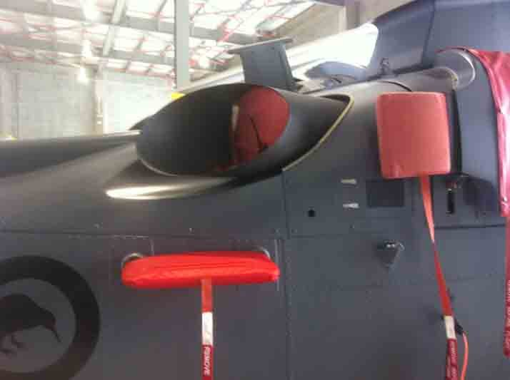 Upholstery of a helicopter being replaced