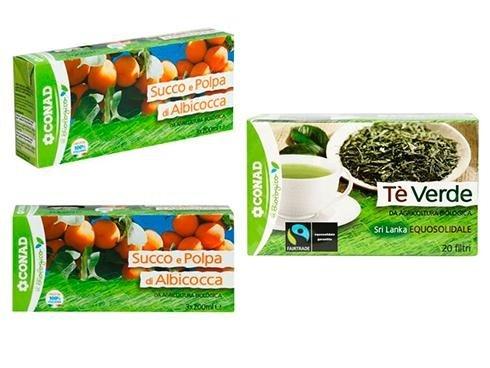 succo di albicocca e tè verde bio conad
