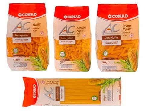 vari formati pasta senza glutine conad