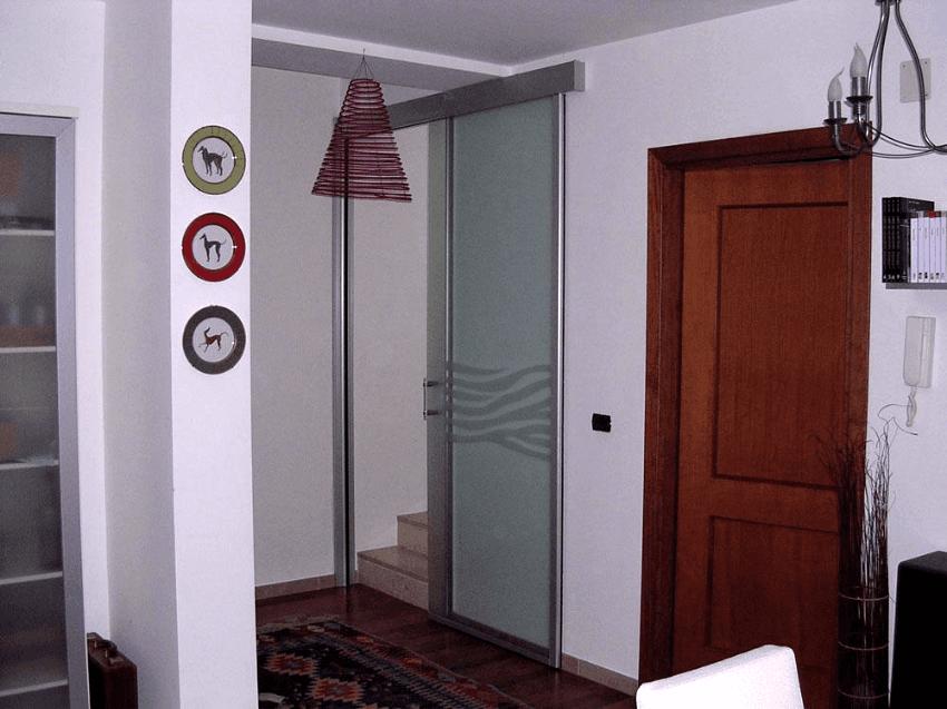 porta a parete con profilo