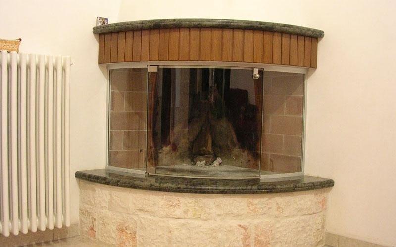 Chiusura caminetto in vetro temperato