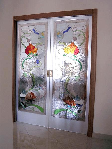 Porte scorrevoli con vetrate Tiffany