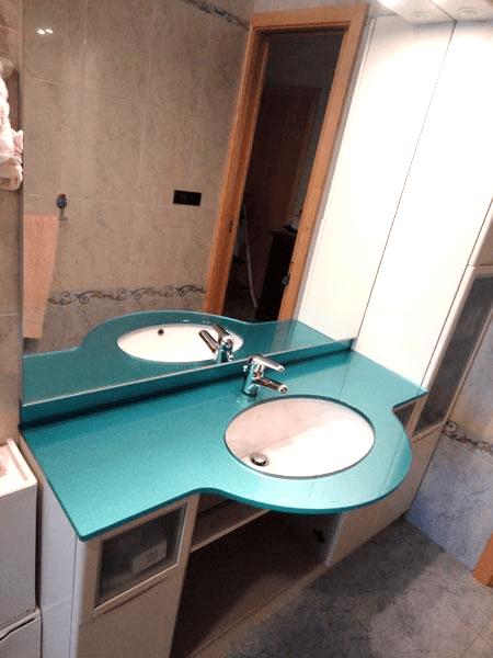 Top bagno retrolaccato con specchio