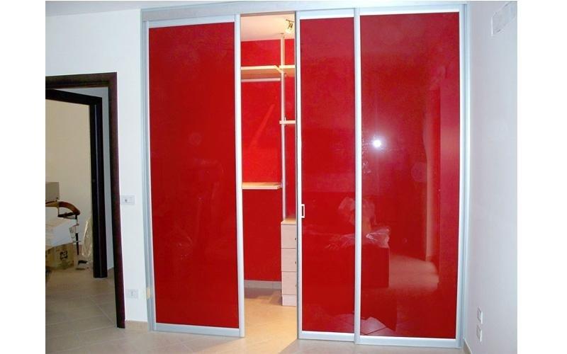 Cabina armadio in alluminio e vetro retrolaccato