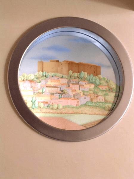 Paesaggio con castello colorati
