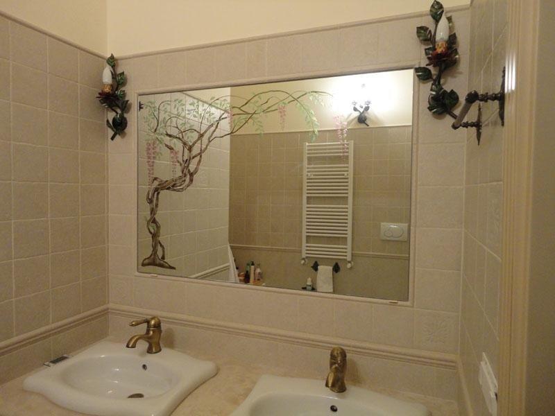 Specchio incassato e retrodecorato