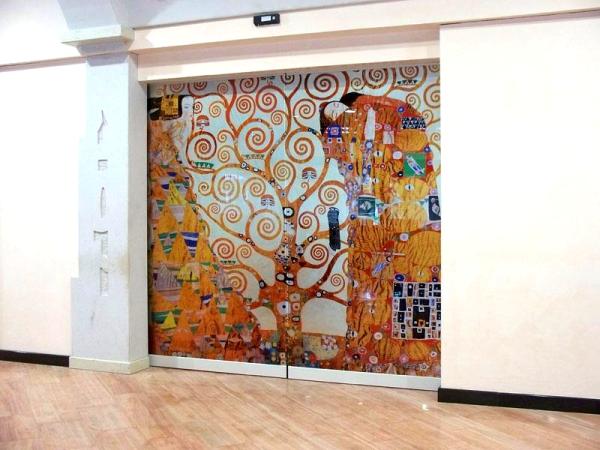 Trittico Klimt riprodotto su cristallo