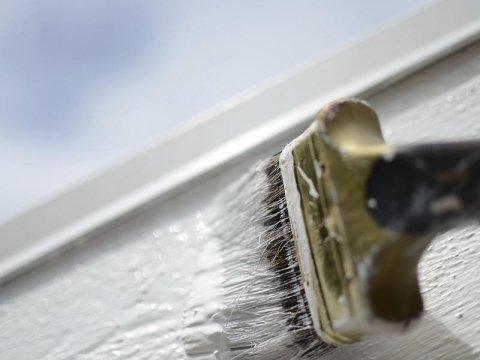 primo piano di un pennello durante un processo di verniciatura