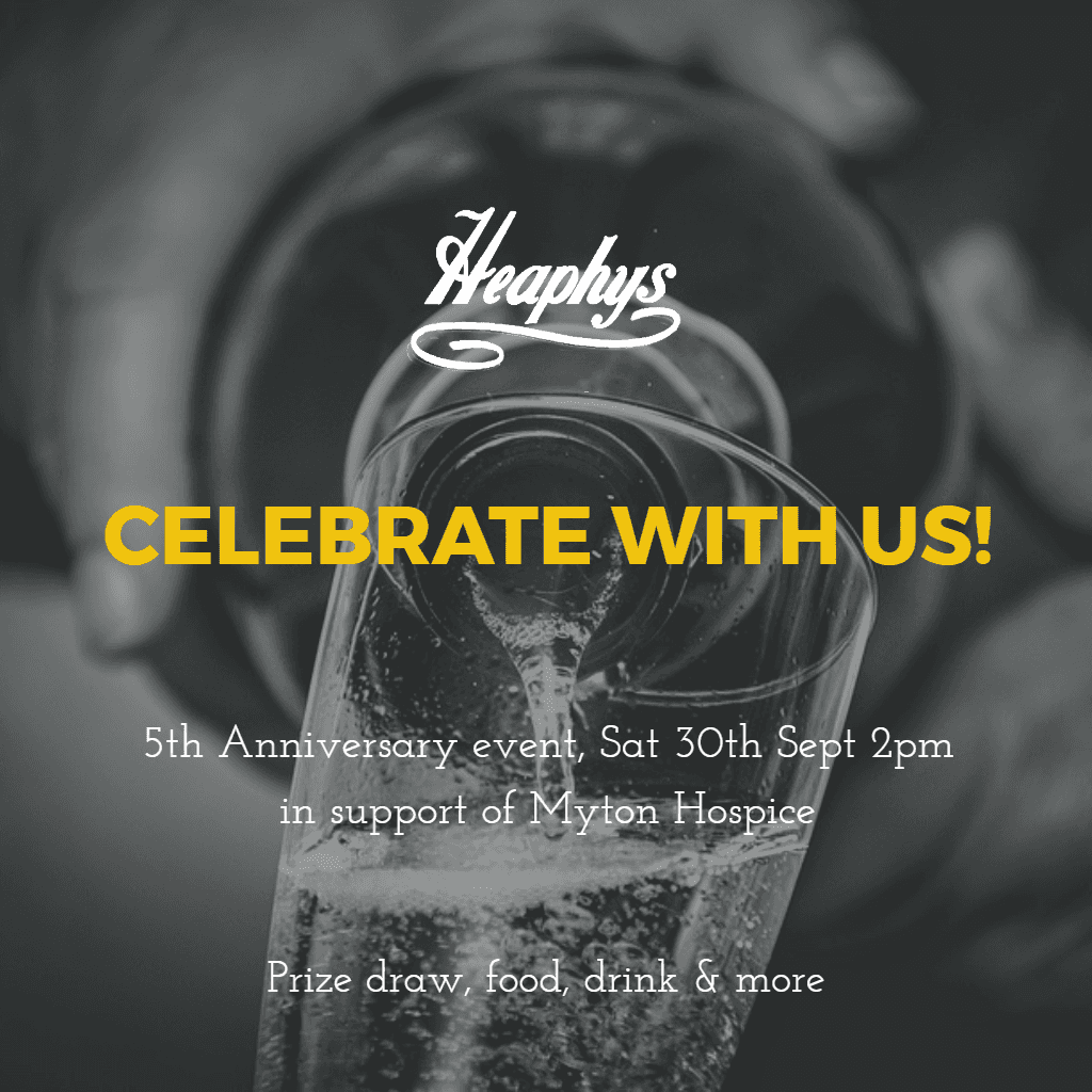 5th Anniversary celebrations at Heaphys Saturday 30th September