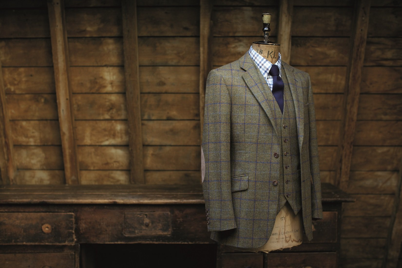 Made to measure tweed, wool, silk, tailored suit three piece