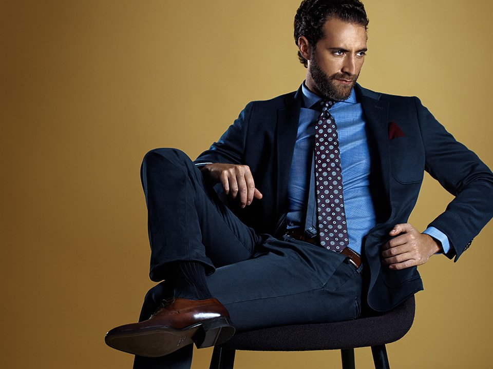 A cotton suit, seasonal style or made to measure, shirt and tie by Profuomo