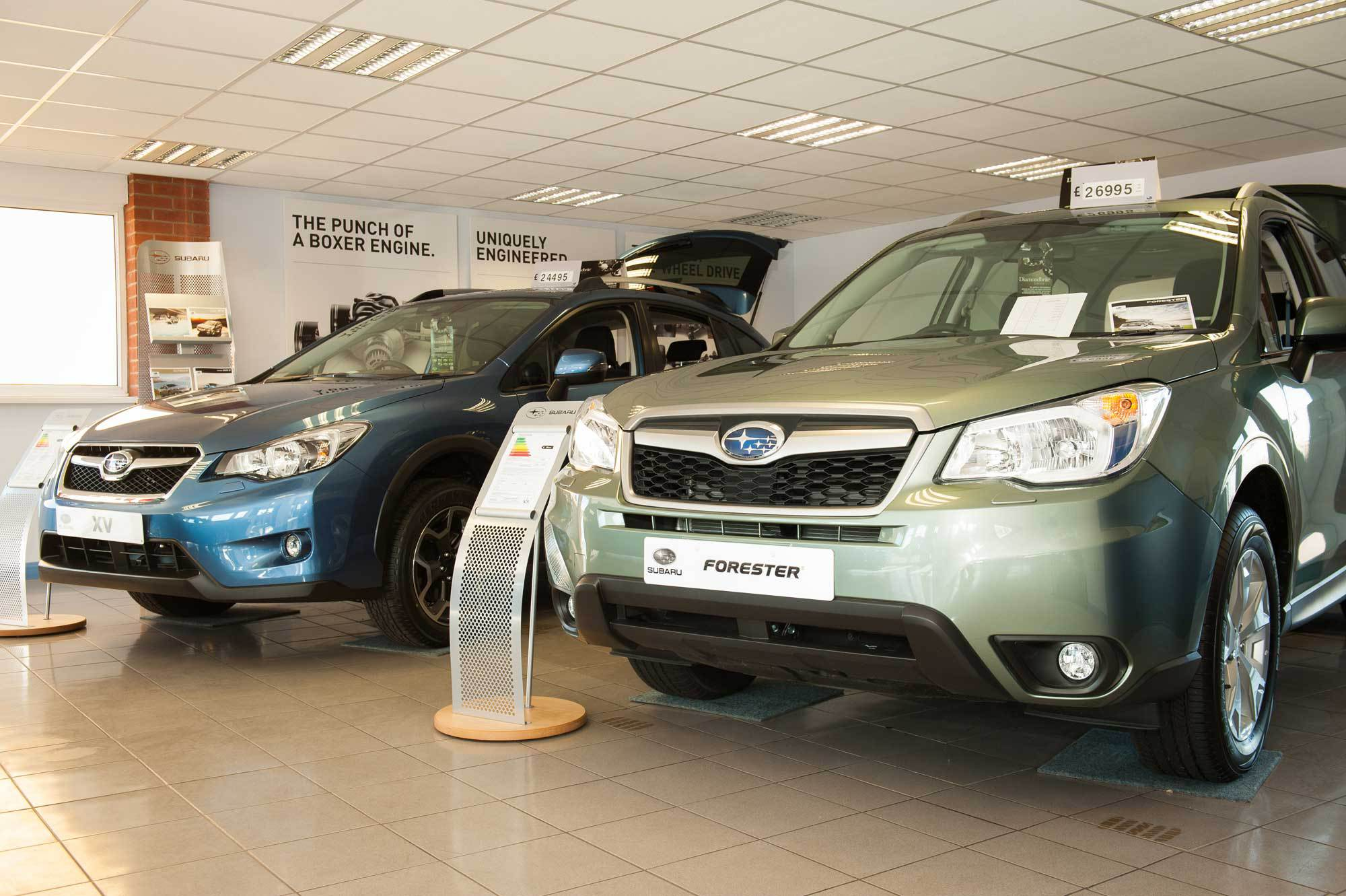New and used cars on display in the garage in Peterborough