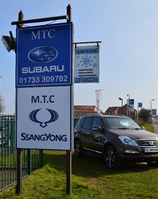 A sign with the car brands on offer in Peterborough