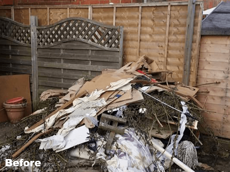 pile of rubbish and garden waste