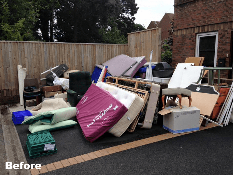 mattress and household rubbish