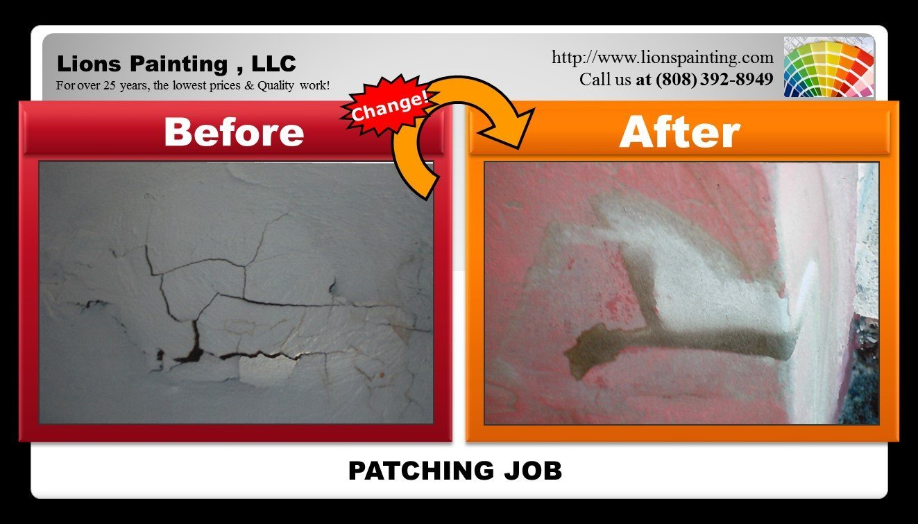 Before and after of patching job