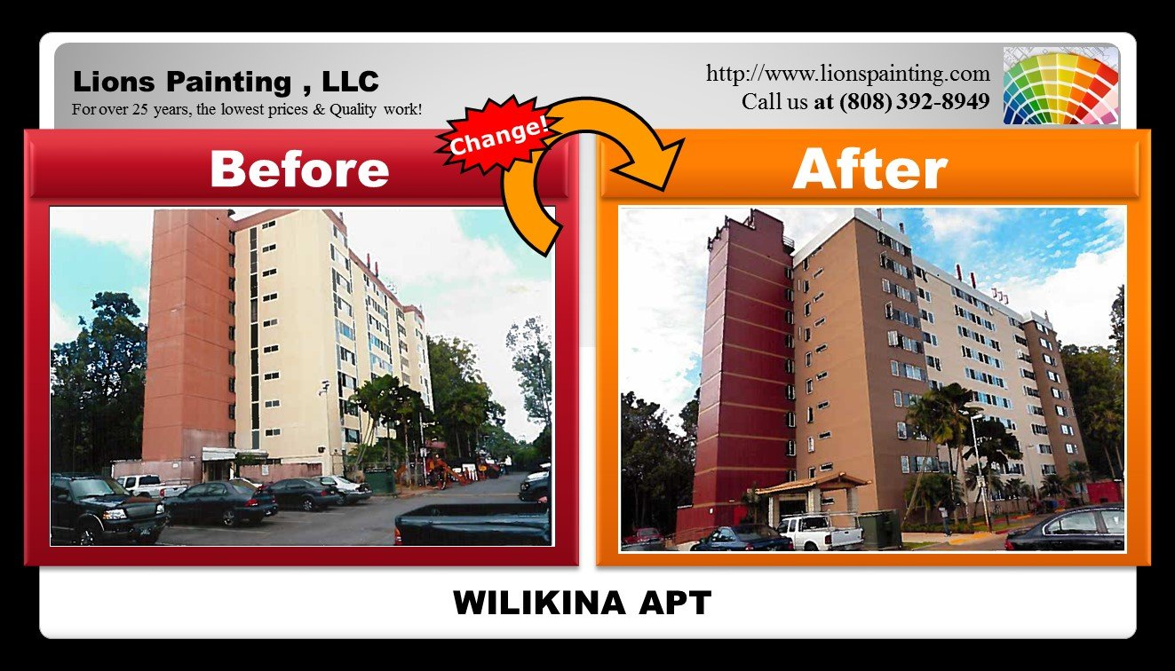 Before and after of painting job at Wilikina Apartment