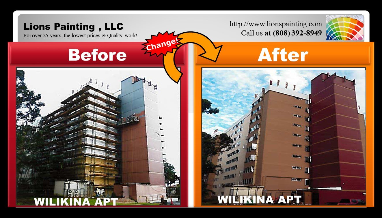 Before and after of repair service at Wilikina Apartment