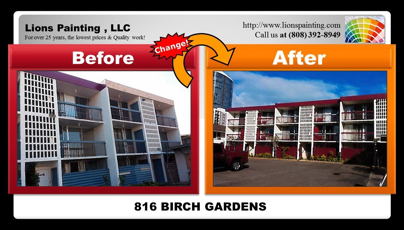 Before and after of repair work and painting at Birch Gardens