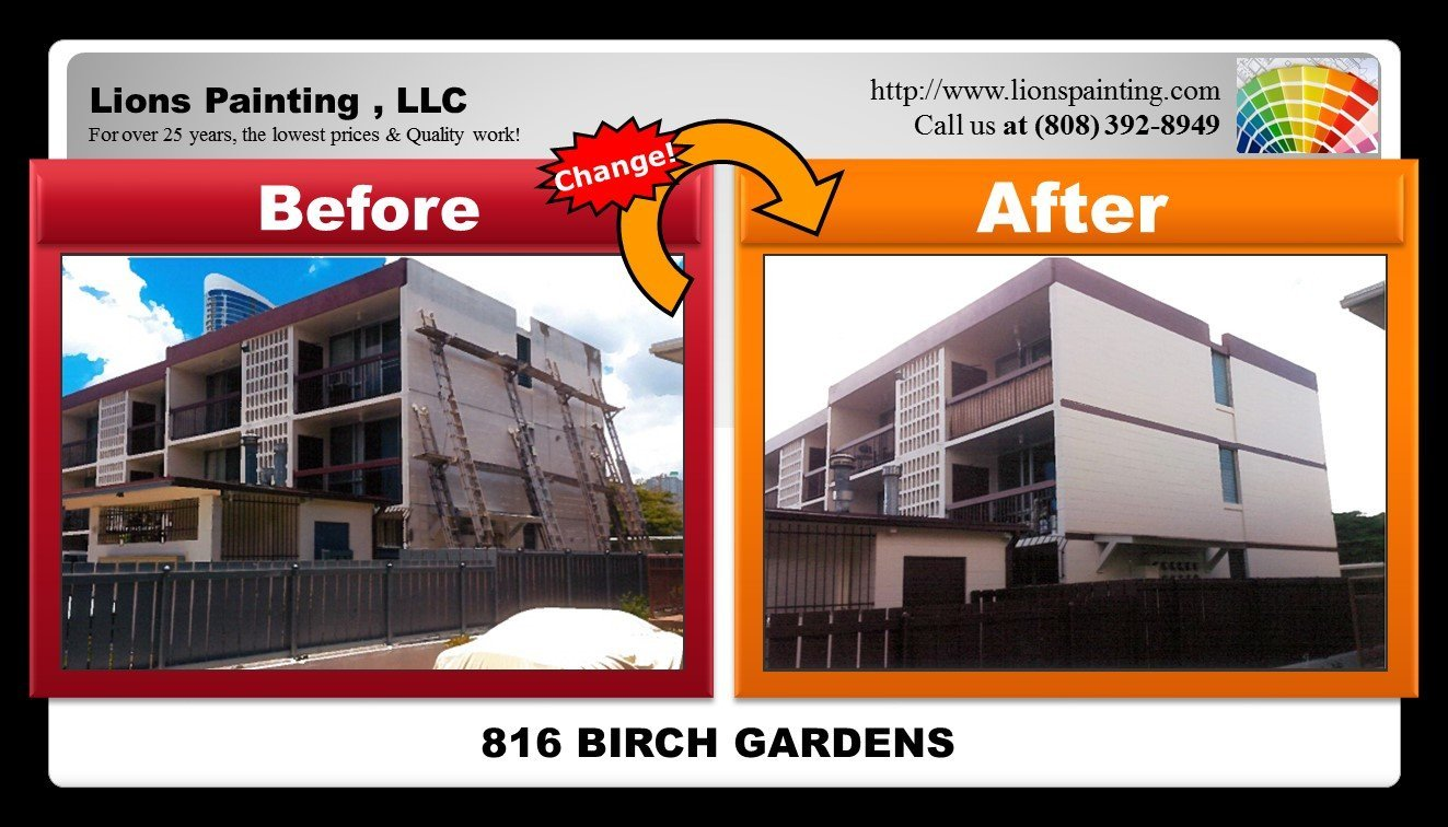 Before and after of repair and patching job at Birch Gardens Apartment