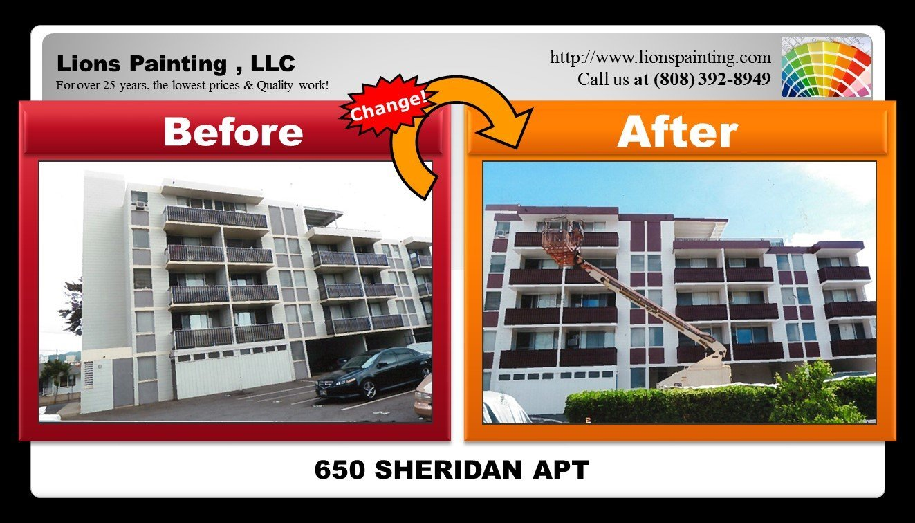 Before and after of repair work and painting at Sheridan Apartment