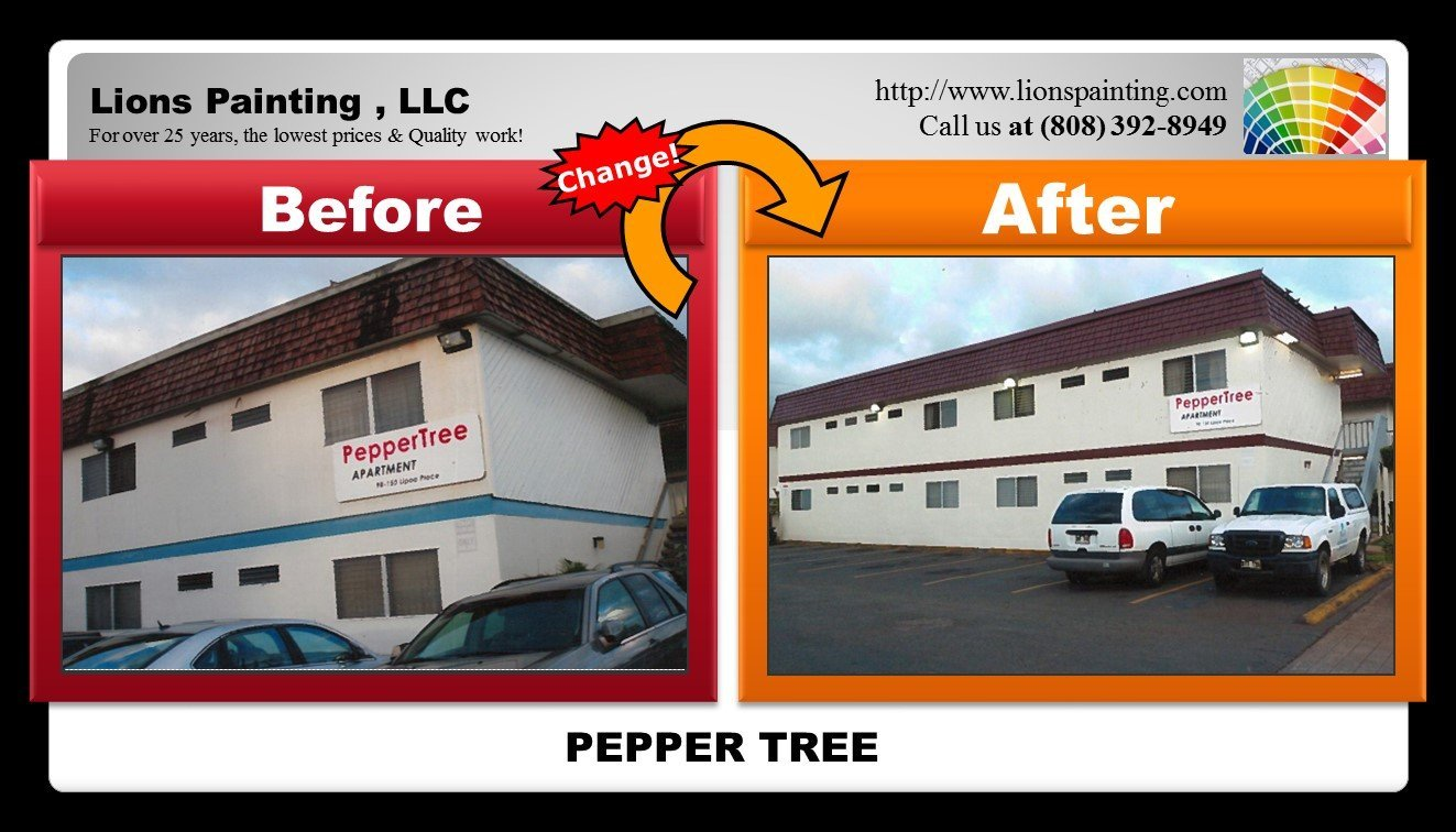 Before and after of roofing work at Pepper Tree